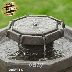 Garden Water Fountain Solar Powered Bird Bath Outdoor Pond LED Light Patio Decor
