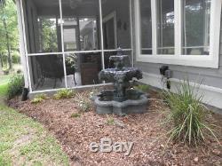 Garden Water Lion's Head Fountain Feature Bird Bath 3-Tier Outdoor Yard Decor
