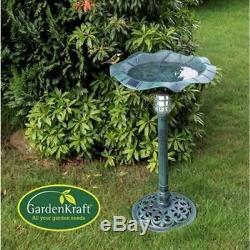 GardenKraft Bird bath with Solar Light Garden Feature Dia43cm H80cm