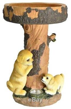 Gardenwize Labrador Puppy Dog Birdbath Table Garden Bird Bath with Solar Light