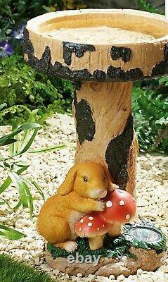 Gardenwize Outdoor Rabbit Birdbath Table Garden Bird Bath with Solar Light Lamp