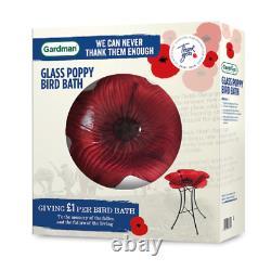 Gardman Poppy Bird Bath Red Flower Wild Bird Bath Garden Decor