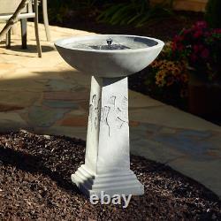 Ginkgo Weathered Stone Solar Fountain Birdbath Patio, Garden, or Balcony Decor