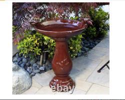 Glazed Birdbath Outdoor Vintage Pedestal Garden Decor Distressed Patio Porch