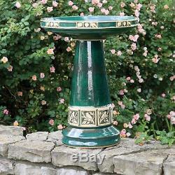 Glazed Ceramic Stoneware Bird Bath Antique Pedestal Garden Outdoor Water Bowl