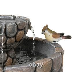 Glitzhome 2-Tier Outdoor Floor Water Fountain Pebble Stone Birdbath Garden Decor