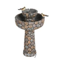 Glitzhome Outdoor 2 Tiers Stone-Like Birdbath Floor Water Fountain Garden Decor