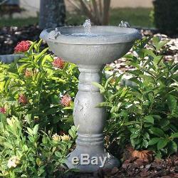 Gray Weathered Stone Country Gardens Solar Powered 2-Tier Birdbath Fountain