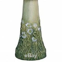 Green Daisy Clay Bird Bath Pedestal Bowl Out Door Garden Decor Floral Back Yard