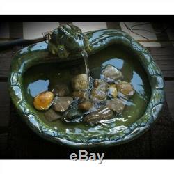 Green Glazed Ceramic Fountain Bird Bath with Frog Solar Pump Porch Patio Garden