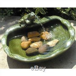 Green Glazed Ceramic Fountain Bird Bath with Frog and Solar Pump Yard Garden