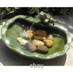 Green Glazed Ceramic Frog Solar Bird Bath Fountain Outdoor Garden Decoration
