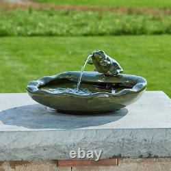 Green Glazed Ceramic Smart Solar Frog Solar Bird Bath Fountain garden patio deck