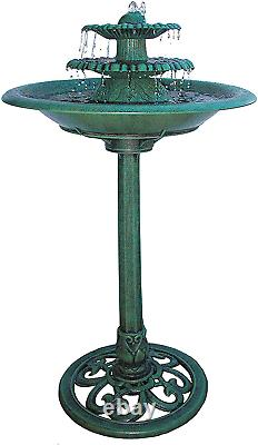 Green Plastic 3 Tier Garden Fountain WITH PUMP Outdoor Decor Water Bird Bath