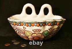 HOLY WATER FONT vtg italian art pottery garden bird bath pinto vietri terracotta
