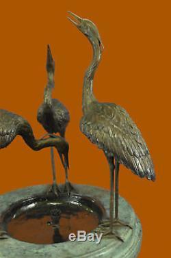Handcrafted Bronze Garden Fountain Outdoor Water Bird Bath Birdbath 3 Cranes