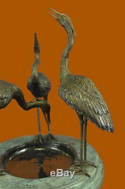 Handcrafted Bronze Garden Fountain Outdoor Water Bird Bath Birdbath 3 Cranes Ef