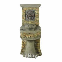 Indoor / Outdoor Water Fountain with Bronze Hued Lion Head Garden Pond Bird Bath