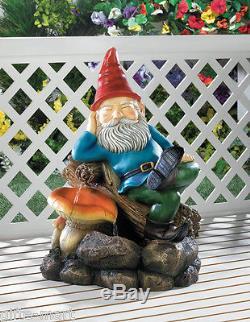LARGE 23 tall weclome GNOME Statue bird bath Outdoor Garden patio Fountain
