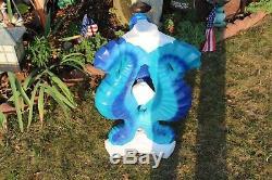 LARGE Antique Cement Sea Horse Bird Bath Statue Garden Art Custom Paint