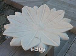 LOTUS BLOSSOM vtg stone carving garden sculpture bird bath marble flower bowl