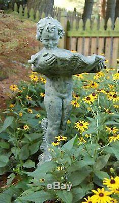Ladybug Garden Decor Cherub Birdbath