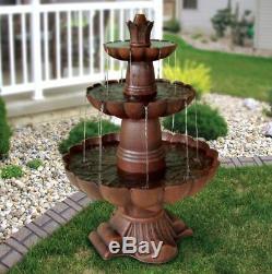 Large 3 Tier Fountain Zen Outdoor Water Waterfall Garden Cascade Pump Bird Bath