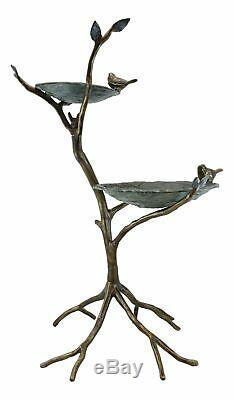 Large Aluminum Two Tier Nesting Birds On Branches Garden Bird Feeder Bath Statue