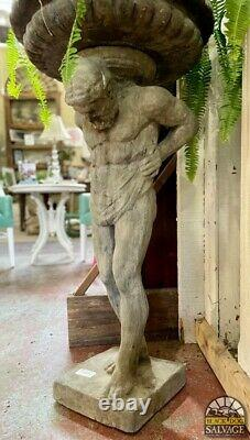 Large Atlas Birdbath, Garden Statue, Cast Stone Sculpture, 43 Tall