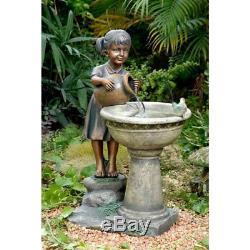 Large Bird Bath Outdoor Fountain Pedestal Garden Yard Birdbath Pump Water Bowl