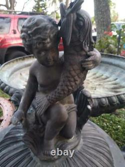 Large Bronze Cherubs Putti Water Garden Fountain Horses Bird Bath Horses 7+ Feet
