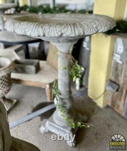 Large Cast Stone Victorian Birdbath, 48 Tall, Garden Feature