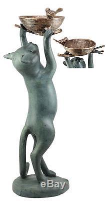 Large Cat Reaching For Bird Nest Garden Bird Feeder Bird Bath 22 Tall Statue