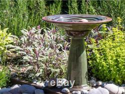 Large Glazed Bird Bath Stand Curved Ceramic Stand Ripple Pattern Garden Water