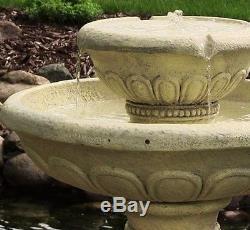 Large Outdoor Round Garden Bird Bath Water Fountain Feature Solar Powered F2