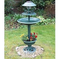 Large Solar Light Bird Bath Flowers Planter for Garden Patio Balcony Feeder