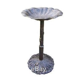 Lily Bird Bath Pedestal Garden Decoration Outdoor Decor