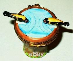 Limoges France Box Artoria Bird Bath Birds At A Garden Fountain Le #470