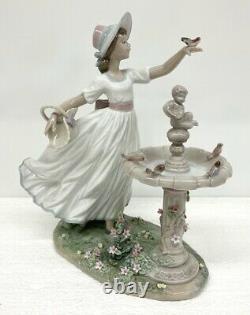 Lladro Spring Joy Woman In Garden With Birdbath & Flowers Retired #6106 With Box