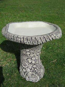 Log bird bath stone garden ornament