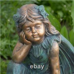 Magnesium 20 inch Fairy Sitting on Flower Bird Bath Gardenia Garden Yard Patio