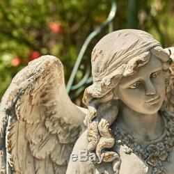 Magnesium Angel Mary Birdbath with Bird and Flowers Garden Yard Patio