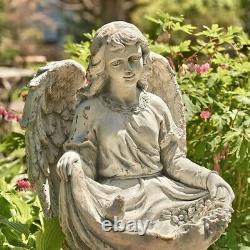 Magnesium Kneeling Angel Birdbath With The Birds Cassiel Garden Yard Patio