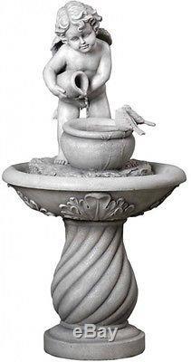 Mainstays Cherub Water Fountain Home Garden Patio Outdoor Decoration Birdbath