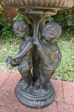 Maitland Smith Brass Bronzed Bird Bath Garden Ornament 3 Boys Children Base
