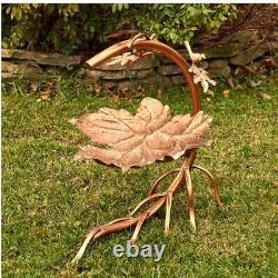 Maple Leaf Bird Bath with Birds Antique Copper Finish Yard, Deck, Patio, Garden