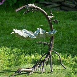 Maple Leaf Bird Bath with Birds Galvanized Yard, Deck, Patio, Garden
