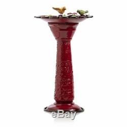 Metal Bird Bath Outdoor Bowl Birdbath Garden Yard Fountain Water Red Pedestal
