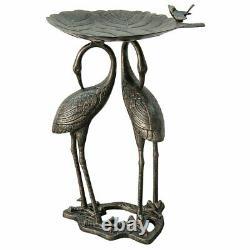 Metal Heron Lily Pad Bird Bath Outdoor Bowl Birdbath Fountain Water Garden Yard