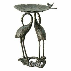Metal Heron Lily Pad Bird Bath Outdoor Bowl Birdbath Garden Yard Fountain Large